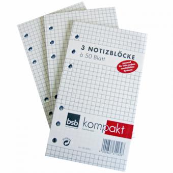 Kompakt A6 Notizblock kariert 3er Packung