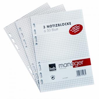 Manager A5 Notizblock kariert 3 er Packg.
