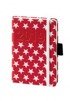 V-Book Buchkalender A6 mit Gummiband - Sterne rot/weiß