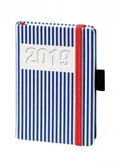 V-Book Buchkalender A6 mit Gummiband - blaue Streifen