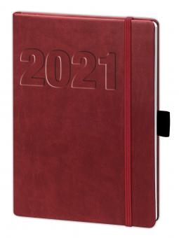 V-Book Buchkalender A5 mit Gummiband - bordeaux