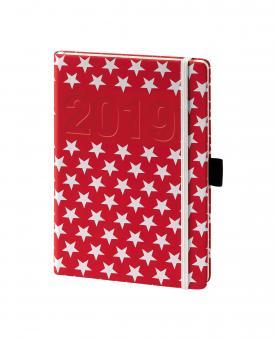 V-Book Buchkalender A5 mit Gummiband - Sterne rot/weiß