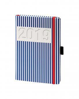 V-Book Buchkalender A5 mit Gummiband - blaue Streifen