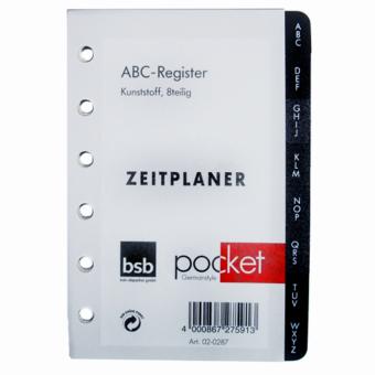 Pocket A7 ABC-Register Kunststoff 8teilig