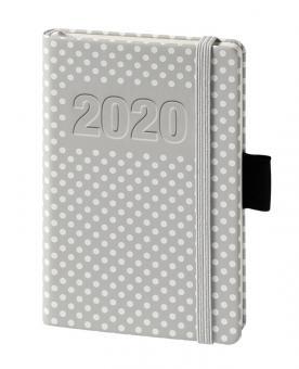 V-Book Buchkalender A6 - Hardcover - grau Punkte